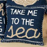 Take Me to the Sea Pillow Navy 16 Square
