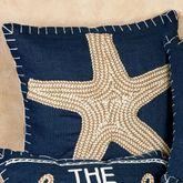 Starfish Pillow Navy 18 Square