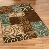 Blocked Spiral Rectangle Rug Chocolate