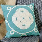 Ornamental Knot Pillow Aqua 20 Square