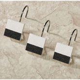 Ambrosi Shower Curtain Hooks Black 12 Piece Set