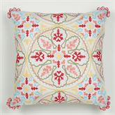 Garden View Embroidered Pillow White 16 Square