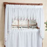 Isabella Embroidered Swag Valance Pair 60 x 38