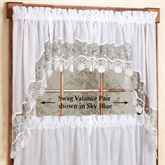 Vintage Embroidered Swag Valance Pair 58 x 38