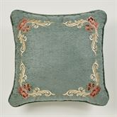Calais Embroidered Pillow Teal 18 Square