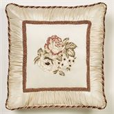 Floral Jubilee Embroidered Pillow Light Cream 18 Square