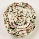 Floral Jubilee Ruffled Pillow Light Cream Round