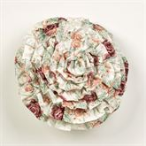 English Rose Ruffled Pillow Ivory Round