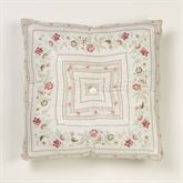 English Rose Tufted Pillow Ivory 18 Square