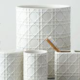 Rattan Wastebasket Ivory
