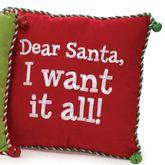 Santa I Want It All Pillow Multi Warm 12 Square
