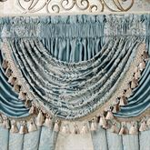 Regency Jacquard Scroll Waterfall Valance Parisian Blue 52 x 30