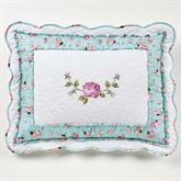 Rose Garden Quilted Sham White