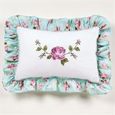 Rose Garden Embroidered Pillow White Rectangle