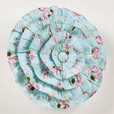 Rose Garden Ruffled Pillow Aqua Round