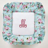 Rose Garden Ruffled Pillow White 18 Square