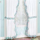 Rose Garden Tailored Curtain Pair White 84 x 84