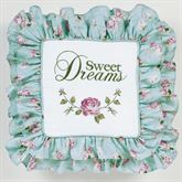 Rose Garden Sweet Dreams Embroidered Pillow White 20 Square