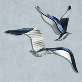 Seagulls Wall Accent Set Silver Gold Set of Two