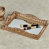 Flowering Medallion Mirrored Vanity Tray Aged Gold