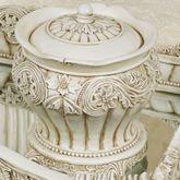 Flowering Medallion Covered Jar Antique Ivory
