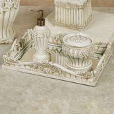 Flowering Medallion Mirrored Vanity Tray Antique Ivory