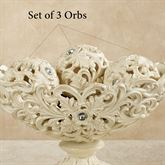 Openwork Orbs Ivory/Gold Set of Three