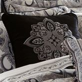 Guiliana Embroidered Pillow Black 18 Square