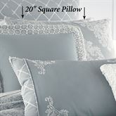 Ansonia Damask Tailored Pillow Sterling Blue 20 Square
