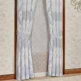 Ansonia Damask Tailored Curtain Pair Sterling Blue 82 x 84