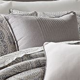 Mykonos Trapunto Piped Pillow Gray 18 Square