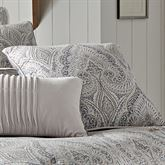 Mykonos Medallion Piped Pillow Gray 20 Square