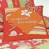 Tropical Paradise Tailored Mitred Pillow Coral 14 Square