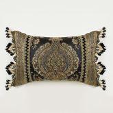 Bellevue Bead Fringe Pillow Black Rectangle