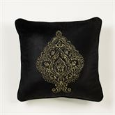 Bellevue Embroidered Pillow Black 20 Square