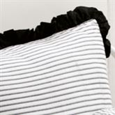 Toile de Jouy Ruffled Striped Sham Black European
