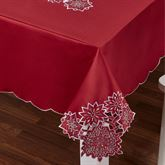Snowflake Oblong Tablecloth Dark Red