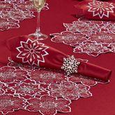 Snowflake Napkins Dark Red Set of Four
