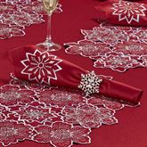 Snowflake Napkins Dark Red Set of Four