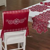 Snowflake Chair Covers Dark Red Set of Two