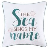 Breezy Shores Embroidered Pillow White 16 Square