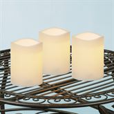 Ellie Medium Indoor Outdoor LED Candles Ivory Set of Three