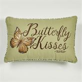 Butterfly Eden Kisses Embroidered Pillow Moss Rectangle