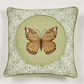 Butterfly Eden Embroidered Pillow Moss 16 Square