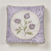 Lavender Rose Embroidered Pillow 18 Square