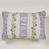 Lavender Rose Shirred Embroidered Pillow Rectangle