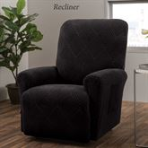 Lapeer Stretch Slipcover Black Recliner