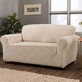 Lapeer Stretch Slipcover Cream Loveseat