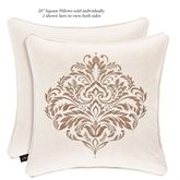 Milano Damask Embroidered Pillow Almond 20 Square