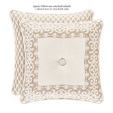Milano Damask Reversible Tufted Pillow Almond 18 Square